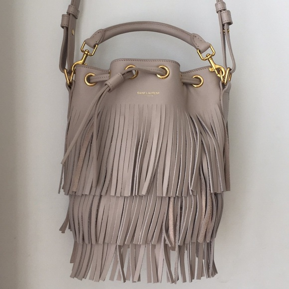 222fd62b26 SAINT LAURENT Emmanuelle fringe leather bucket bag